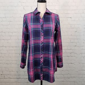 Foxcroft Pink and Blue Plaid Shaped Fit Shirt